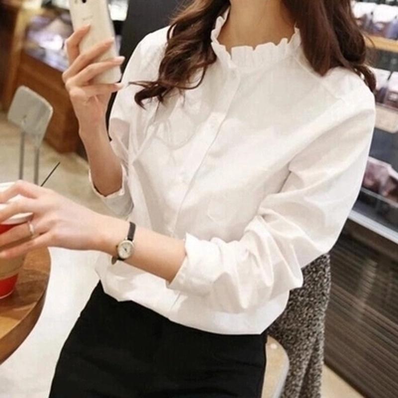 慈姑韩版宽松学院风木耳花边立领棉麻白衬衫女冬长袖打底衬衣加绒加厚 米色 立领薄款