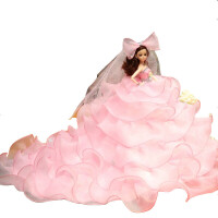 换装婚纱巴比娃娃套装大礼盒女孩公主玩具洋娃娃儿童生日圣诞礼物芭比娃娃高45CM 粉色卷边 3D真眼 拖尾款 音乐款 礼