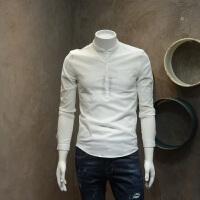 男士圆领修身衬衣修身型青年套头衬衫
