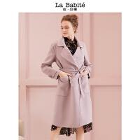 拉夏贝尔拉贝缇羊毛呢大衣女中长款新款流行冬季赫本双面呢子外套秋