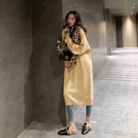 毛衣女秋冬装2018新款套头打底衫法式气质过膝中长款针织连衣裙子 均码