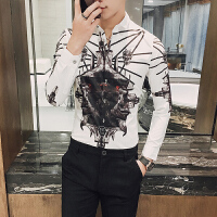 春季新款印花衬衫男长袖韩版帅气修身衬衣潮流夜店发型师上衣