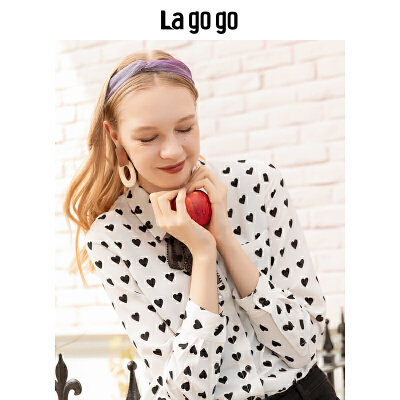 Lagogo/拉谷谷2019冬季新款直筒印花长袖衬衫HCCC409G61