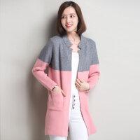 实拍2015秋冬新款镶色开衫毛衣外套超长款时尚韩版女士修身毛衣加厚