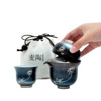 手绘快客杯一壶二杯银制个人茶杯陶瓷茶壶便携旅行茶具套装