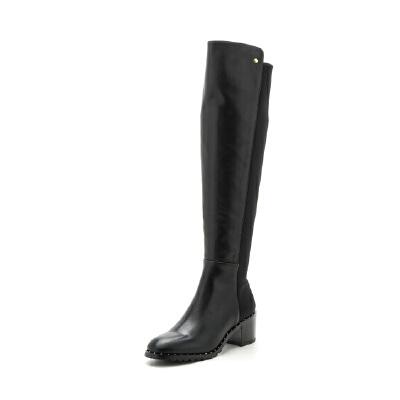 星期六(ST&SAT)专柜同款牛皮革粗跟尖头时尚长靴SS74117453