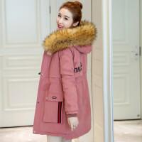女士棉衣韩版冬季中长款连帽大毛领加绒加厚收腰外套 3X