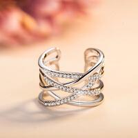 开口时尚戒指女925银潮人情侣食指关节尾戒指环