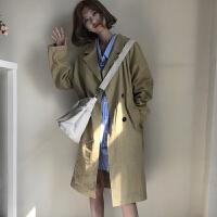学院风韩版春装简约纯色中长款宽松风衣女装学生百搭双排扣外套女