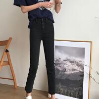 春装新款韩版chic女装修身显瘦弹力黑色铅笔裤高腰小脚裤九分裤女