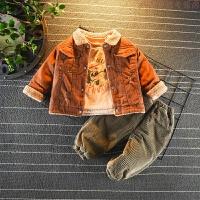 童装男小童套装冬装2婴幼儿童加绒外出服3岁宝宝加厚冬季三件套潮