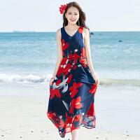 沙滩裙女夏 新款 波西米亚 中长款连衣裙 显瘦修身雪纺度假裙 图片色