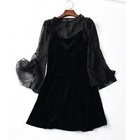 大码女装胖妹妹春装新款胖mm洋气套装两件套200斤遮肉仙女连衣裙 黑色