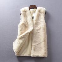 】L@ 1斤秋冬新韩版女装纯色无扣无袖仿皮草外套