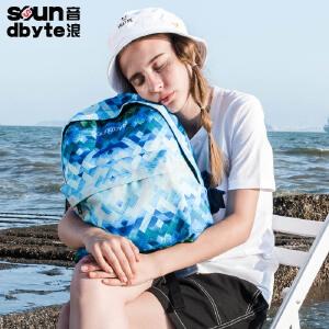 【支持礼品卡支付】soundbyte蓝白色迷彩双肩包男帆布背包学生书包男休闲旅行电脑包