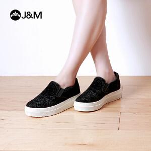 【低价秒杀】jm快乐玛丽春季厚底花朵休闲套脚平底一脚蹬舒适乐福鞋女鞋