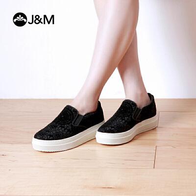 jm快乐玛丽春季厚底花朵休闲套脚平底一脚蹬舒适乐福鞋女鞋82061W