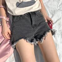 韩国chic高腰牛仔短裤女春夏新款直筒宽松毛边做旧复古学生热裤女