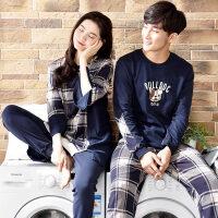 2套价情侣睡衣长袖纯棉 春秋冬季女士韩版可爱卡通家居服男款套装
