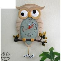 超静音个性款挂钟时尚家居创意钟表猫头鹰摇摆夜光家居石英钟 16英寸