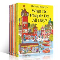 英文原版进口绘本 what do people do all day 理查德 斯凯瑞套装合集全套10册套装 平装配手提