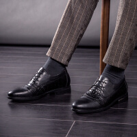 DAZED CONFUSED2017新款商务正装休闲皮鞋男英伦风纹内增高6CM婚鞋时尚发型