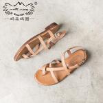 玛菲玛图2020平底罗马凉鞋女夏新款真皮学生英伦学院风时尚女鞋潮2611-11DW