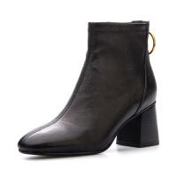 星期六(ST&SAT)秋季专柜同款羊皮革圆头时尚粗跟短靴SS83116289
