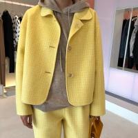 流行毛呢羊绒大衣女短款双面尼外套韩版羊毛小个子格子 黄色上衣