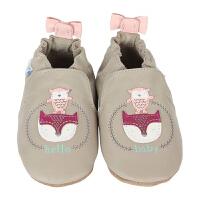 保税区发货/美国直邮 Robeez Hello Baby Friends 女童软底学步鞋猫头鹰狐狸图案 灰色 海外购