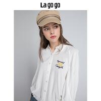 Lagogo2019秋季新款时尚上衣白色翻领小清新七分袖绣花休闲衬衫女