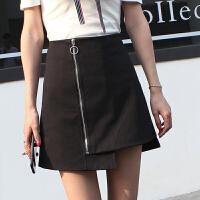 2018春季新款韩版时尚前拉链高腰短裙子百搭包臀A字裙女半身裙夏