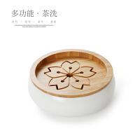 陶瓷储水茶盘洗茶洗功夫茶具配件过滤茶渣桶