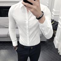 2018男士潮流长袖潮流春装男小码S码韩版修身长袖衬衫青年纯色忖