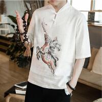 夏季亚麻短袖T恤男 中国风复古印花五分袖棉衣上衣宽松大码体恤