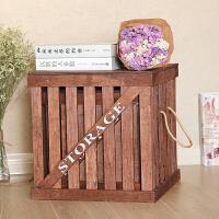 复古储物箱大号杂物箱带盖整理箱吊篮木箱木质收纳箱盒实木脏衣篮