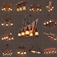 乡村复古船木loft工业风创意怀旧酒吧实木咖啡餐厅吊灯具