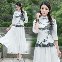 中国风女装立领盘扣七分袖衬衫春夏装新款印花改良旗袍上衣女衬衫