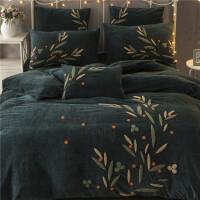 秋冬保暖宝宝绒四件套加厚深色毛绒床上用品抗静电珊瑚绒刺绣床单