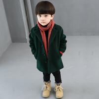 冬季男童儿童新款秋冬呢子大衣外套宝宝韩版中长款毛呢加厚童装潮秋冬新款 绿色