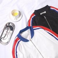 夹克男春秋薄款棒球领休闲运动外套男韩版修身帅气百搭条纹棒球服