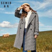 森马毛呢外套女冬季韩版格子中长款大衣翻立领学生装