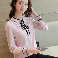 粉色雪纺洋气衬衫女长袖2018春装新款蝴蝶结荷叶边领韩版木耳边潮