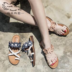 玛菲玛图夏天拖鞋女外穿复古罗马套趾花朵凉鞋一字森女真皮平底方跟凉拖2611-5D