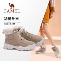 骆驼女鞋2019冬季新款英伦风加绒马丁靴女平底保暖厚底靴子女短靴
