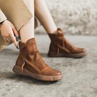玛菲玛图英伦风复古靴子女短靴平底靴文艺风纯手工马丁靴女大码女靴009-25S