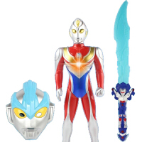 20180527012755627咸蛋超人发光音乐大刀剑男孩武器玩具银河奥特曼面具披风套装