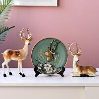 家居酒柜装饰品摆件欧式客厅创意玄关电视柜麋鹿摆设乔迁新居礼品