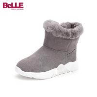 百丽Belle童鞋18冬季新款耐磨绒面靴子加绒保暖中筒靴防滑高帮鞋(5-15岁可选)DE0761