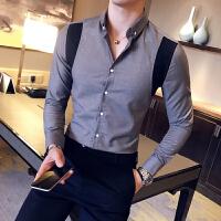 新款2018青少年男长袖衬衫港风文艺小清新休闲衬衣社小伙修身男衣